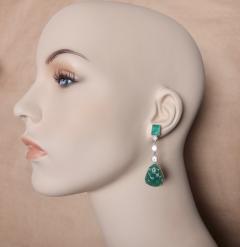Michael Kneebone Michael Kneebone Carved Emerald and White Diamond Dangle Earrings - 1230474