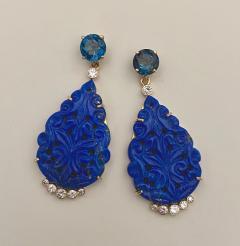 Michael Kneebone Michael Kneebone Carved Lapis Lazuli Blue Topaz Diamond Dangle Earrings - 1569388