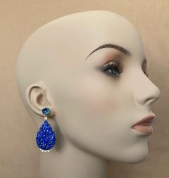 Michael Kneebone Michael Kneebone Carved Lapis Lazuli Blue Topaz Diamond Dangle Earrings - 1569389