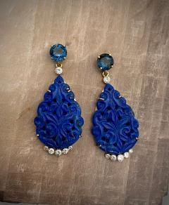 Michael Kneebone Michael Kneebone Carved Lapis Lazuli Blue Topaz Diamond Dangle Earrings - 1569390