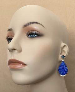 Michael Kneebone Michael Kneebone Carved Lapis Lazuli Blue Topaz Diamond Dangle Earrings - 1569391