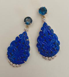 Michael Kneebone Michael Kneebone Carved Lapis Lazuli Blue Topaz Diamond Dangle Earrings - 1569392