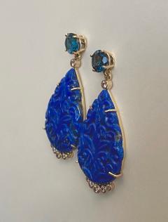 Michael Kneebone Michael Kneebone Carved Lapis Lazuli Blue Topaz Diamond Dangle Earrings - 1569394