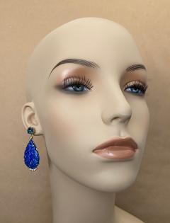 Michael Kneebone Michael Kneebone Carved Lapis Lazuli Blue Topaz Diamond Dangle Earrings - 1569395