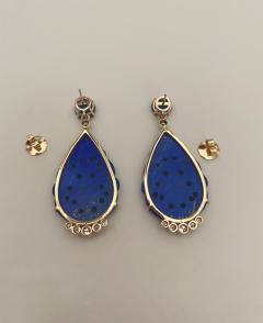 Michael Kneebone Michael Kneebone Carved Lapis Lazuli Blue Topaz Diamond Dangle Earrings - 1569396