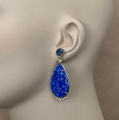 Michael Kneebone Michael Kneebone Carved Lapis Lazuli Blue Topaz Diamond Dangle Earrings - 1569397