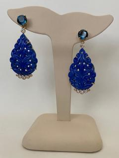 Michael Kneebone Michael Kneebone Carved Lapis Lazuli Blue Topaz Diamond Dangle Earrings - 1569398