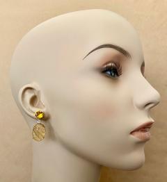 Michael Kneebone Michael Kneebone Citrine Carved Citrine White Diamond Dangle Earrings - 1567675