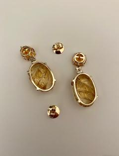 Michael Kneebone Michael Kneebone Citrine Carved Citrine White Diamond Dangle Earrings - 1567683