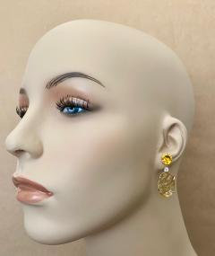 Michael Kneebone Michael Kneebone Citrine Carved Citrine White Diamond Dangle Earrings - 1567684