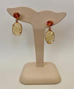 Michael Kneebone Michael Kneebone Citrine Carved Citrine White Diamond Dangle Earrings - 1567686
