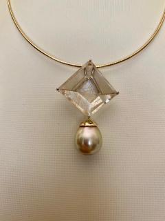Michael Kneebone Michael Kneebone Fantasy Cut Rutile Quartz Golden South Seas Pearl Pendant - 1448820