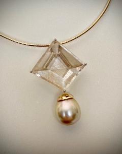 Michael Kneebone Michael Kneebone Fantasy Cut Rutile Quartz Golden South Seas Pearl Pendant - 1448824
