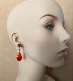 Michael Kneebone Michael Kneebone Garnet Yellow Sapphire Fire Opal Diamond Dangle Earrings - 1360195