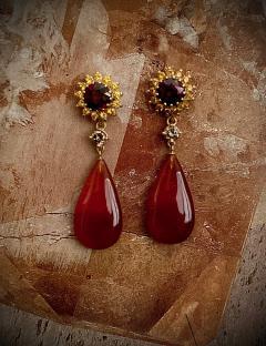 Michael Kneebone Michael Kneebone Garnet Yellow Sapphire Fire Opal Diamond Dangle Earrings - 1360203