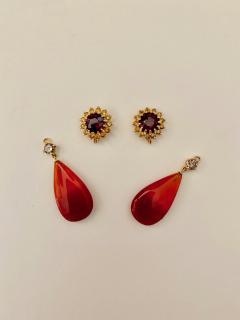 Michael Kneebone Michael Kneebone Garnet Yellow Sapphire Fire Opal Diamond Dangle Earrings - 1360209