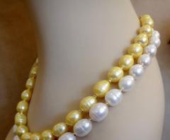 Michael Kneebone Michael Kneebone Golden Pearl White Pearl Baroque Double Strand Necklace - 1082817