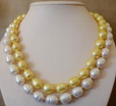 Michael Kneebone Michael Kneebone Golden Pearl White Pearl Baroque Double Strand Necklace - 1082818