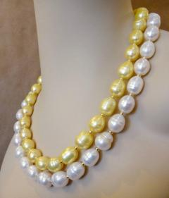 Michael Kneebone Michael Kneebone Golden Pearl White Pearl Baroque Double Strand Necklace - 1082820