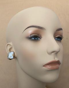 Michael Kneebone Michael Kneebone Gray Tile Pearl Button Earrings - 1584994