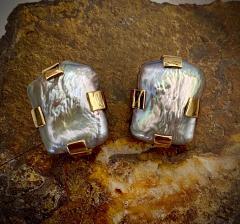 Michael Kneebone Michael Kneebone Gray Tile Pearl Button Earrings - 1584995