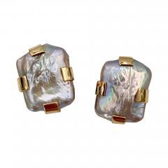 Michael Kneebone Michael Kneebone Gray Tile Pearl Button Earrings - 1585204