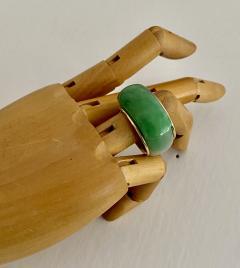 Michael Kneebone Michael Kneebone Green Burmese Jadeite 18k Yellow Gold Saddle Ring - 1963134