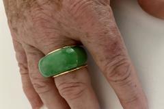 Michael Kneebone Michael Kneebone Green Burmese Jadeite 18k Yellow Gold Saddle Ring - 1963139
