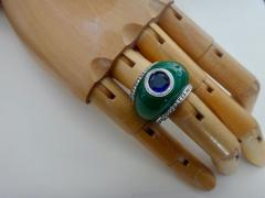 Michael Kneebone Michael Kneebone Green Jadeite Blue Sapphire Diamond Bombe Ring - 1013362