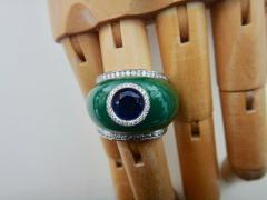 Michael Kneebone Michael Kneebone Green Jadeite Blue Sapphire Diamond Bombe Ring - 1013364