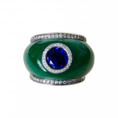 Michael Kneebone Michael Kneebone Green Jadeite Blue Sapphire Diamond Bombe Ring - 1014614
