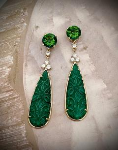 Michael Kneebone Michael Kneebone Green Topaz Diamond Green Onyx Dangle Earrings - 1689261