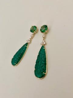 Michael Kneebone Michael Kneebone Green Topaz Diamond Green Onyx Dangle Earrings - 1689265