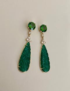Michael Kneebone Michael Kneebone Green Topaz Diamond Green Onyx Dangle Earrings - 1689267
