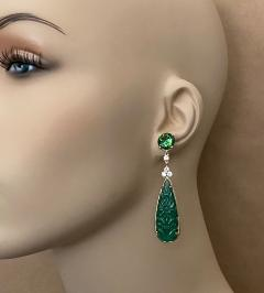 Michael Kneebone Michael Kneebone Green Topaz Diamond Green Onyx Dangle Earrings - 1689268
