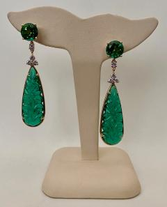 Michael Kneebone Michael Kneebone Green Topaz Diamond Green Onyx Dangle Earrings - 1689270