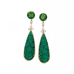 Michael Kneebone Michael Kneebone Green Topaz Diamond Green Onyx Dangle Earrings - 1693225