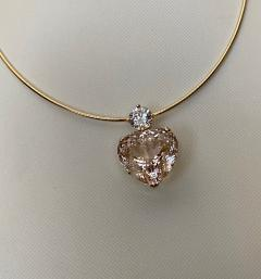 Michael Kneebone Michael Kneebone Heart Shaped Champagne Topaz White Sapphire Pendant - 1490845