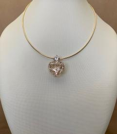 Michael Kneebone Michael Kneebone Heart Shaped Champagne Topaz White Sapphire Pendant - 1490851