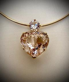 Michael Kneebone Michael Kneebone Heart Shaped Champagne Topaz White Sapphire Pendant - 1490852