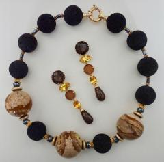Michael Kneebone Michael Kneebone Jasper Bead Necklace Multi Gemstone Dangle Earring Suite - 996832