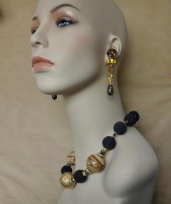 Michael Kneebone Michael Kneebone Jasper Bead Necklace Multi Gemstone Dangle Earring Suite - 996840