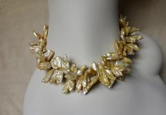 Michael Kneebone Michael Kneebone Khaki Colored Petal Pearl Double Strand Torsade Necklace - 1025331