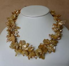 Michael Kneebone Michael Kneebone Khaki Colored Petal Pearl Double Strand Torsade Necklace - 1025332