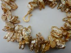 Michael Kneebone Michael Kneebone Khaki Colored Petal Pearl Double Strand Torsade Necklace - 1025334