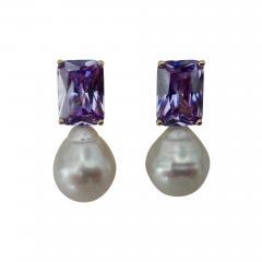 Michael Kneebone Michael Kneebone Lavender Zircon Paspaley South Seas Pearl Drop Earrings - 1301066