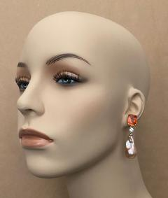 Michael Kneebone Michael Kneebone Madeira Citrine Sapphire Baroque Pearl Dangle Earrings - 1625467