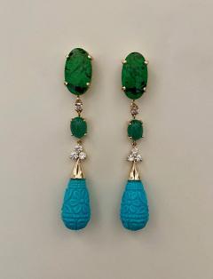 Michael Kneebone Michael Kneebone Maw Sit Sit Jade Emerald Turquoise Diamond Dangle Earrings - 1651683