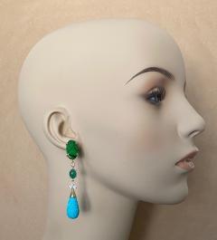 Michael Kneebone Michael Kneebone Maw Sit Sit Jade Emerald Turquoise Diamond Dangle Earrings - 1651684