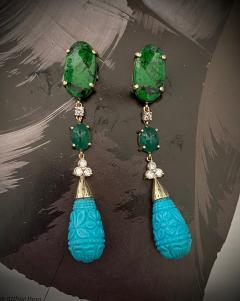 Michael Kneebone Michael Kneebone Maw Sit Sit Jade Emerald Turquoise Diamond Dangle Earrings - 1651685